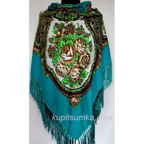 Роскошный бирюзовый украинский платок Сударушка