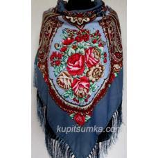 Роскошный синий украинский платок Сударушка Синий