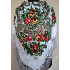 Роскошный цветной украинский платок Белый