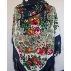Роскошный цветной украинский платок Синий
