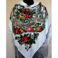 Роскошный шерстяной украинский платок Белый