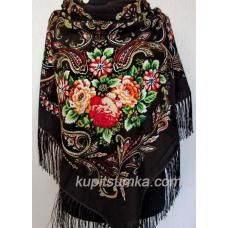 Шерстяной украинский платок Коричневый