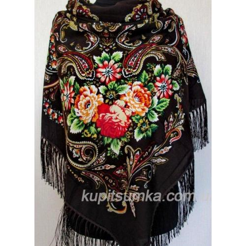 Роскошный шерстяной украинский платок Коричневый