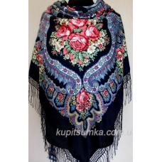 Роскошный шерстяной украинский платок Ночка Синий