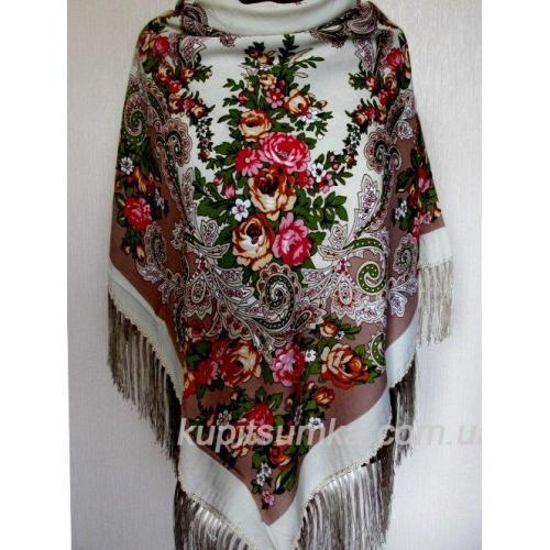 Стильный украинский платок из шерсти Белый