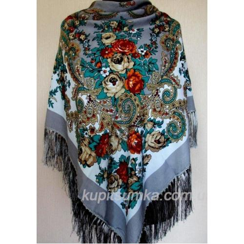 Стильный украинский платок из шерсти Графитовый
