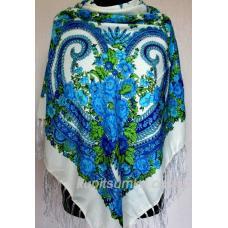 Традиционный украинский платок с голубым цветочным узором