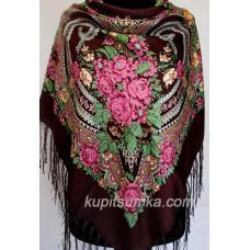 Традиционный украинский платок с оригинальным цветочным узором Кофейный