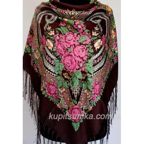 Традиционный украинский платок коричневый 55Т9-87