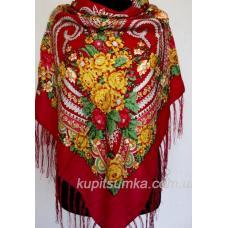 Традиционный украинский платок с оригинальным цветочным узором Красный