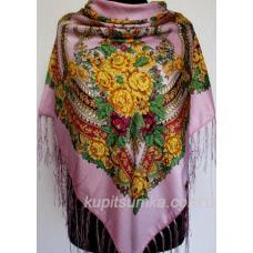 Традиционный украинский платок с оригинальным цветочным узором Розовый
