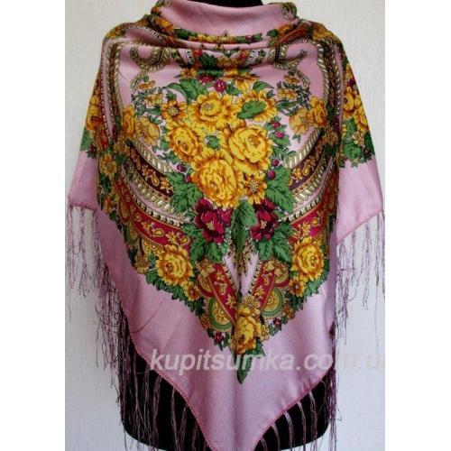 Народный украинский женский платок розовый 56Т-346