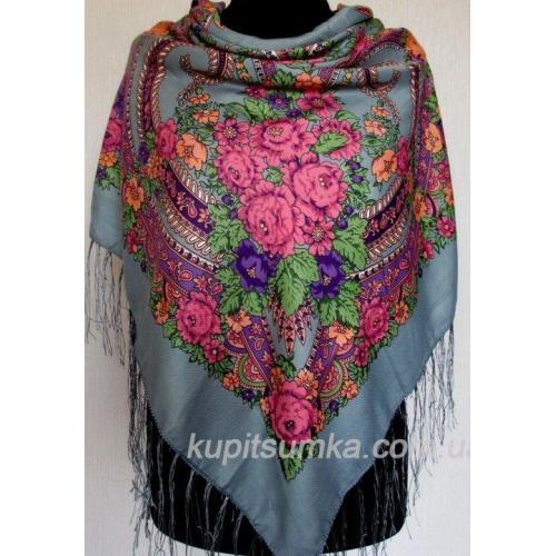 Традиционный украинский платок с оригинальным цветочным узором Серый