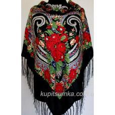 Традиционный украинский платок с оригинальным цветочным узором Чёрный