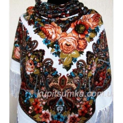 Украинский шерстяной платок TK35-5 Белый