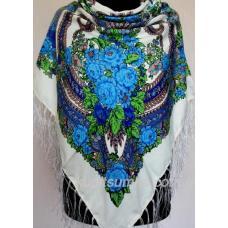 Украинский платок с оригинальным цветочным узором Белый
