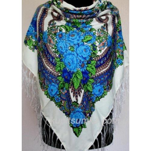 Украинский платок с цветочным узором Белый 56Т3