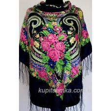 Украинский платок с оригинальным цветочным узором Черный