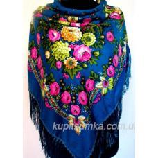 Украинский платок Цветочная рабсодия Синий