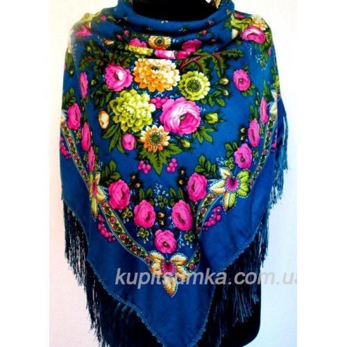 Женский украинский платок синий 49Т1
