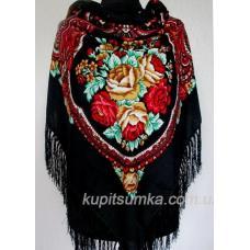 Украинский цветной платок Сударушка Черный