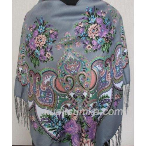 Украинский шерстяной платок Маричка Серый