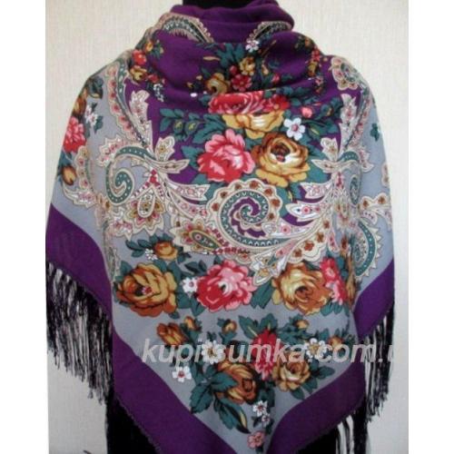 Украинский шерстяной платок Наталка Лиловый