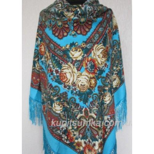 Украинский шерстяной платок Олеся Лазурный