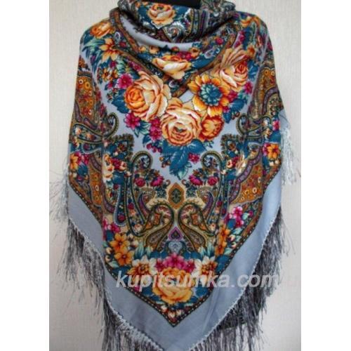 Украинский шерстяной платок 359TK-7 Серый