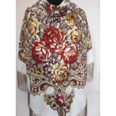 Украинский шерстяной платок Пелагея Беж светлый