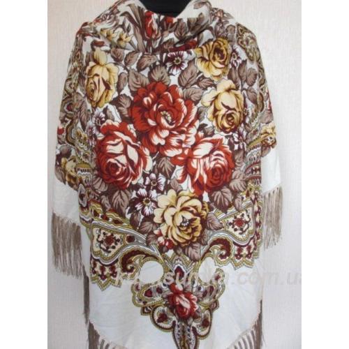 Украинский шерстяной платок бежевый 10Т7