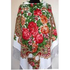 Украинский шерстяной платок Пелагея Белый