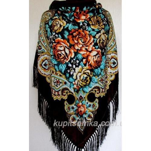 Украинский шерстяной платок Пелагея Коричневый