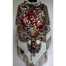 Украинский шерстяной платок Пелагея 50T1 Светло-бежевый