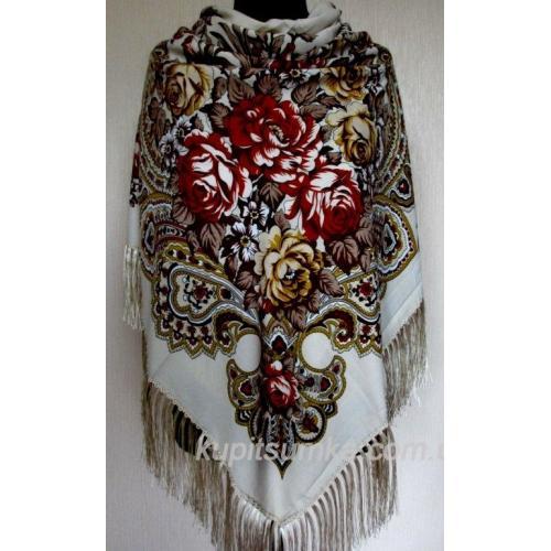 Украинский шерстяной платок Пелагея TK34/9 Светло-бежевый