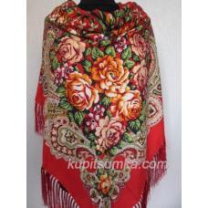 Украинский шерстяной платок красный 10Т9