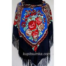 Украинский шерстяной платок Сударушка Черный