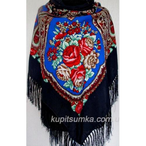 Украинский шерстяной платок черный 51Т7Т-67