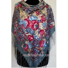 Украинский шерстяной платок с цветочными мотивами Серый