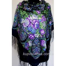 Украинский шерстяной платок Синий темный