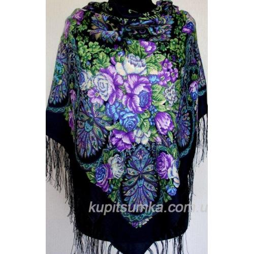 Украинский шерстяной платок с цветочными мотивами Черный