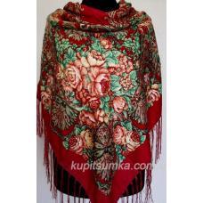 Украинский шерстяной платок с ярким цветочным мотивом Вишневый