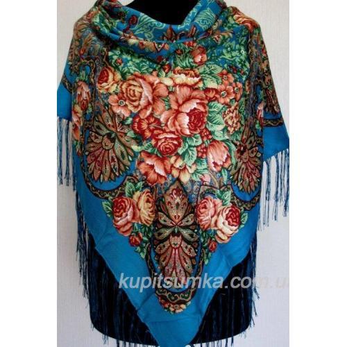 Украинский шерстяной платок с ярким цветочным мотивом Голубой