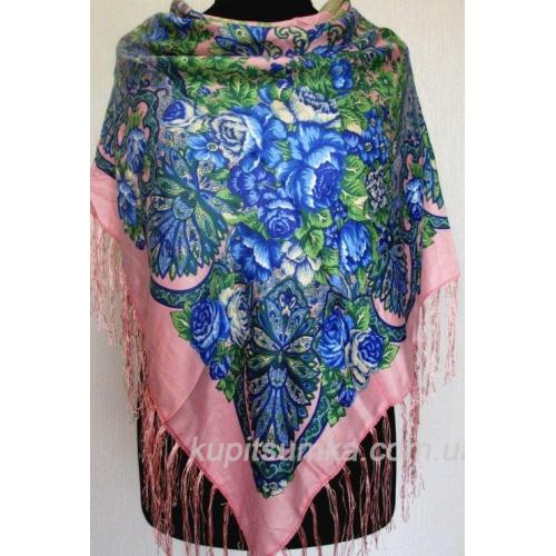 Украинский шерстяной платок с ярким цветочным мотивом Розовый
