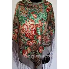 Украинский шерстяной платок с ярким цветочным мотивом Серый