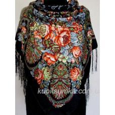 Украинский шерстяной платок с ярким цветочным принтом Черный