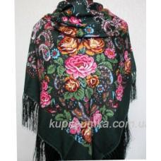 Украинский шерстяной платок зеленый 27Т3