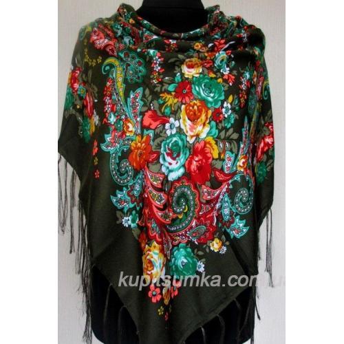 Уникальный украинский платок с ярким цветочным узором Зеленый