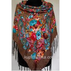 Уникальный украинский платок с ярким цветочным узором Коричневый