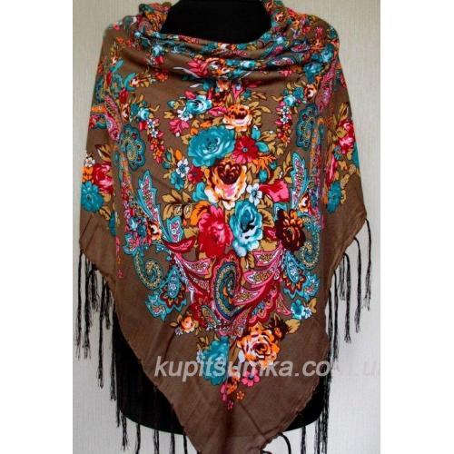 Украинский женский платок в национальном стиле коричневый 52Т9